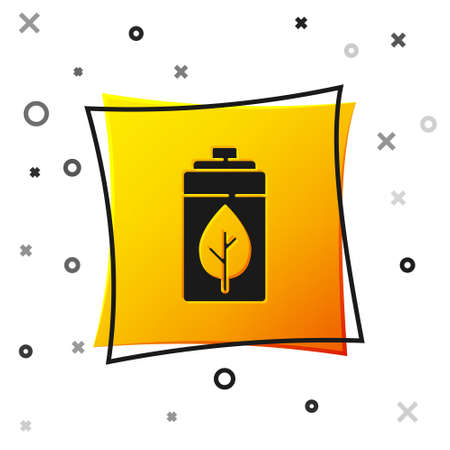 Black Eco nature leaf and battery icon isolated on white background. Energy based on ecology saving concept. Yellow square button. Vector Çizim