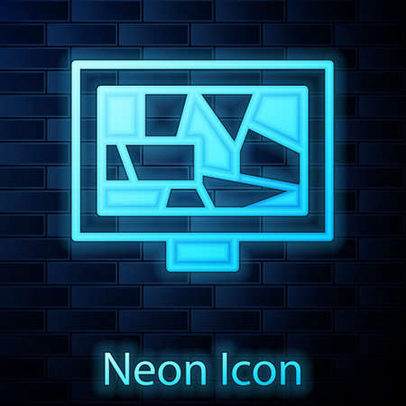 Glowing neon Picture art icon isolated on brick wall background. Vector Çizim