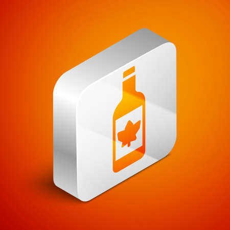 Isometric Beer bottle icon isolated on orange background. Silver square button. Vector Çizim