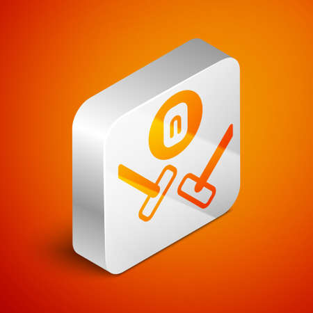 Isometric Curling sport game icon isolated on orange background. Sport equipment. Silver square button. Vector