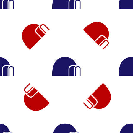 Blue and red Igloo ice house icon isolated seamless pattern on white background. Snow home, Eskimo dome-shaped hut winter shelter, made of blocks. Vector