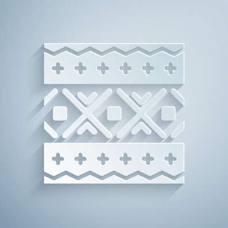 Paper cut Ukrainian ethnic pattern for embroidery icon isolated on grey background. Traditional folk art knitted embroidery pattern. Paper art style. Vector