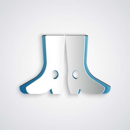 Paper cut Ukrainian national footwear icon isolated on grey background. Traditional ethnic boots. Paper art style. Vector