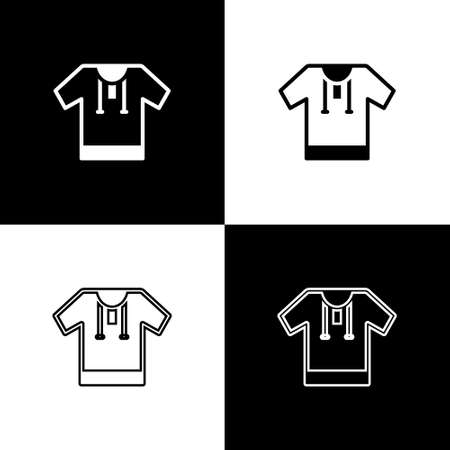 Set Embroidered shirt icon isolated on black and white background. National ukrainian clothing. Vector
