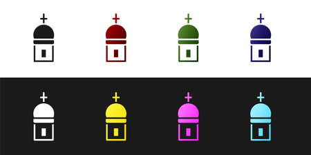 Set Christian church tower icon isolated on black and white background. Religion of church. Vector 일러스트