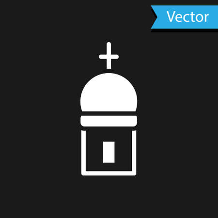 White Christian church tower icon isolated on black background. Religion of church. Vector