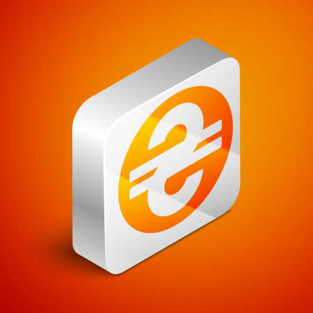 Isometric Ukrainian hryvnia icon isolated on orange background. Silver square button. Vector