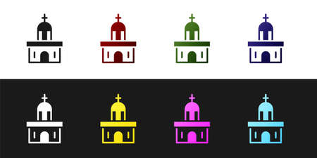 Set Church building icon isolated on black and white background. Christian Church. Religion of church. Vector