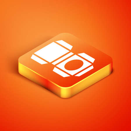 Isometric Carton cardboard box icon isolated on orange background. Box, package, parcel sign. Delivery and packaging. Vector