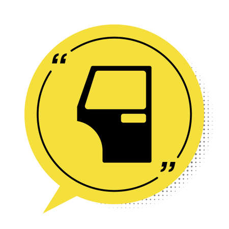 Black Car door icon isolated on white background. Yellow speech bubble symbol. Vector