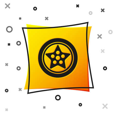 Black Car wheel icon isolated on white background. Yellow square button. Vector