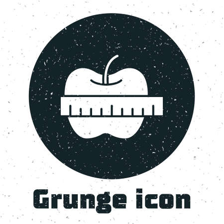 Grunge Apple and measuring tape icon isolated on white background. Excess weight. Healthy diet menu. Fitness diet apple. Monochrome vintage drawing. Vector Ilustração