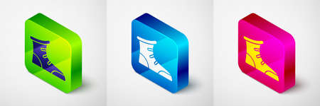 Isometric Sport boxing shoes icon isolated on grey background. Wrestling shoes. Square button. Vector
