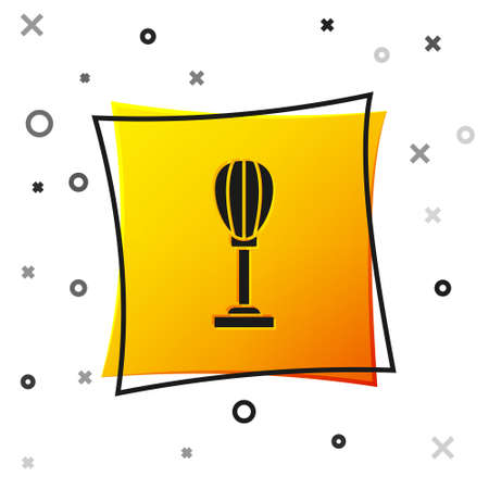 Black Punching bag icon isolated on white background. Yellow square button. Vector Çizim