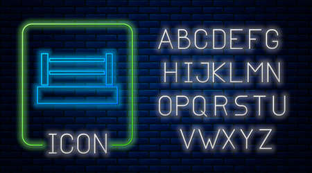 Glowing neon Boxing ring icon isolated on brick wall background. Neon light alphabet. Vector