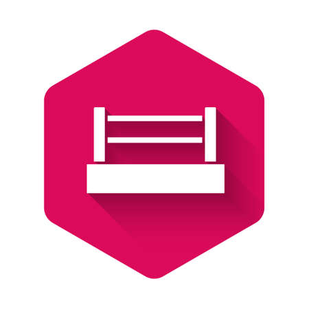 White Boxing ring icon isolated with long shadow background. Pink hexagon button. Vector