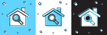 Set Search house icon isolated on blue and white, black background. Real estate symbol of a house under magnifying glass. Vector