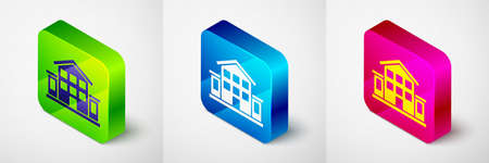 Isometric House icon isolated on grey background. Home symbol. Square button. Vector