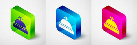 Isometric Hotel service bell icon isolated on grey background. Reception bell. Square button. Vector