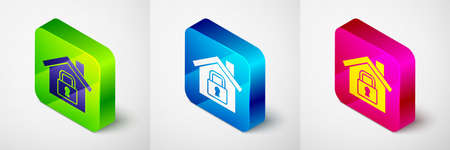 Isometric House under protection icon isolated on grey background. Home and lock. Protection, safety, security, protect, defense concept. Square button. Vector