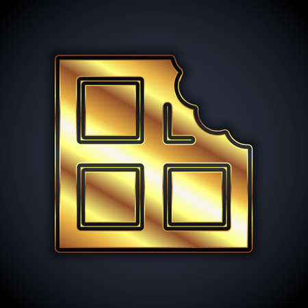 Gold Chocolate bar icon isolated on black background. Vector