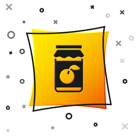 Black Jam jar icon isolated on white background. Yellow square button. Vector Çizim