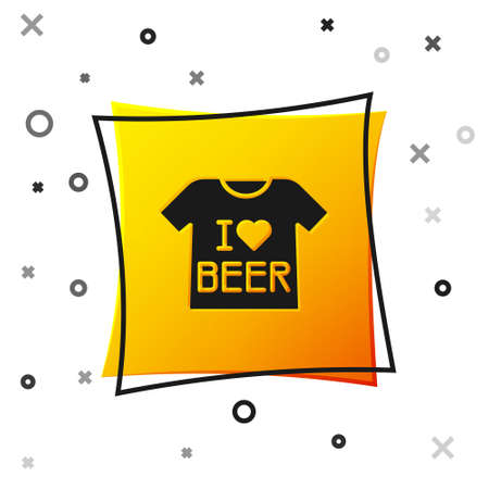 Black Beer T-shirt icon isolated on white background. Yellow square button. Vector
