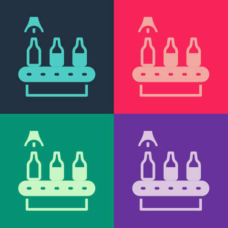 Pop art Brewery factory production line pouring alcoholic drink in glass bottles icon isolated on color background. Vector