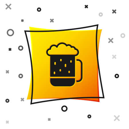 Black Wooden beer mug icon isolated on white background. Yellow square button. Vector