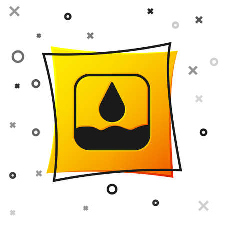 Black Water drop icon isolated on white background. Yellow square button. Vector Çizim