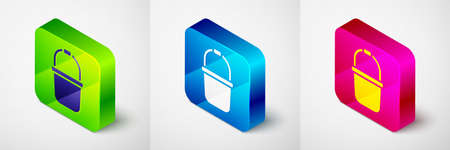 Isometric Sauna bucket icon isolated on grey background. Square button. Vector