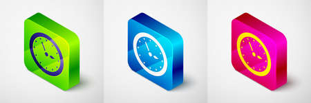 Isometric Sauna clock icon isolated on grey background. Sauna timer. Square button. Vector Çizim