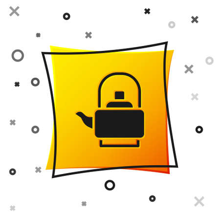 Black Kettle with handle icon isolated on white background. Teapot icon. Yellow square button. Vector