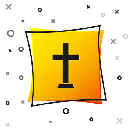 Black Christian cross icon isolated on white background. Church cross. Yellow square button. Vector