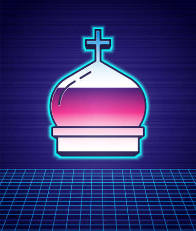 Retro style Christian church tower icon isolated futuristic landscape background. Religion of church. 80s fashion party. Vector