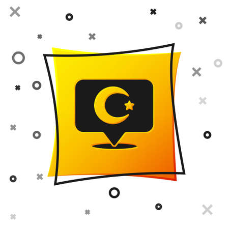 Black Star and crescent - symbol of Islam icon isolated on white background. Religion symbol. Yellow square button. Vector Çizim
