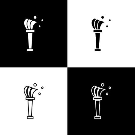 Set Aspergillum icon isolated on black and white background. Vector