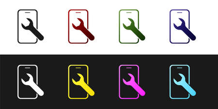 Set Mobile phone with wrench icon isolated on black and white background. Adjusting, service, setting, maintenance, repair. Vector Vettoriali