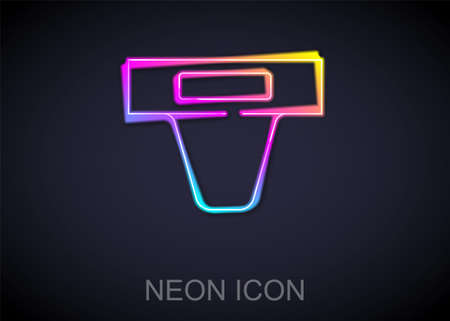 Glowing neon line Groin guard for martial arts icon isolated on black background. Vector