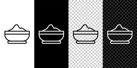 Set line Flour bowl icon isolated on black and white,transparent background. Baking Ingredients. Healthy organic food. Kitchen utensils cup. Dough cooking. Vector