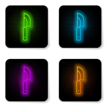 Glowing neon line Knife icon isolated on white background. Cutlery symbol. Black square button. Vector