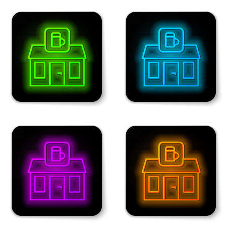 Glowing neon line Store building of beer shop icon isolated on white background. Brewery sign. Black square button. Vector Çizim