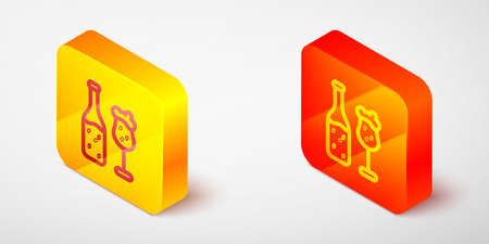 Isometric line Beer bottle and glass icon isolated on grey background. Alcohol Drink symbol. Yellow and orange square button. Vector