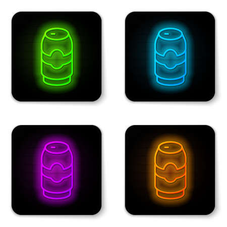 Glowing neon line Beer can icon isolated on white background. Black square button. Vector Çizim