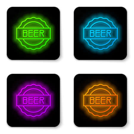 Glowing neon line Bottle cap with inscription beer icon isolated on white background. Black square button. Vector