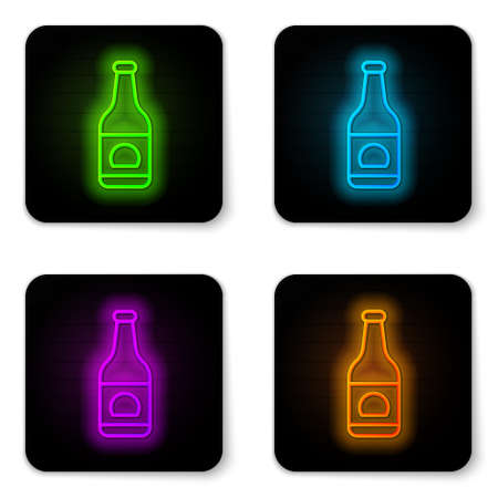 Glowing neon line Beer bottle icon isolated on white background. Black square button. Vector