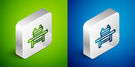 Isometric line Sauna bench with bucket icon isolated on green and blue background. Silver square button. Vector Çizim