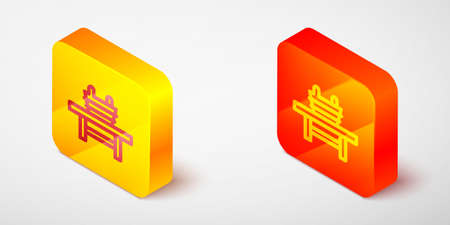 Isometric line Sauna bench with bucket icon isolated on grey background. Yellow and orange square button. Vector