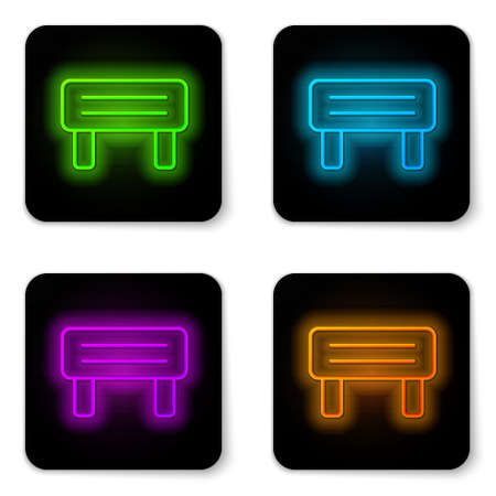 Glowing neon line Sauna wood bench icon isolated on white background. Black square button. Vector