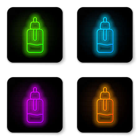 Glowing neon line Essential oil bottle icon isolated on white background. Organic aromatherapy essence. Skin care serum glass drop package. Black square button. Vector